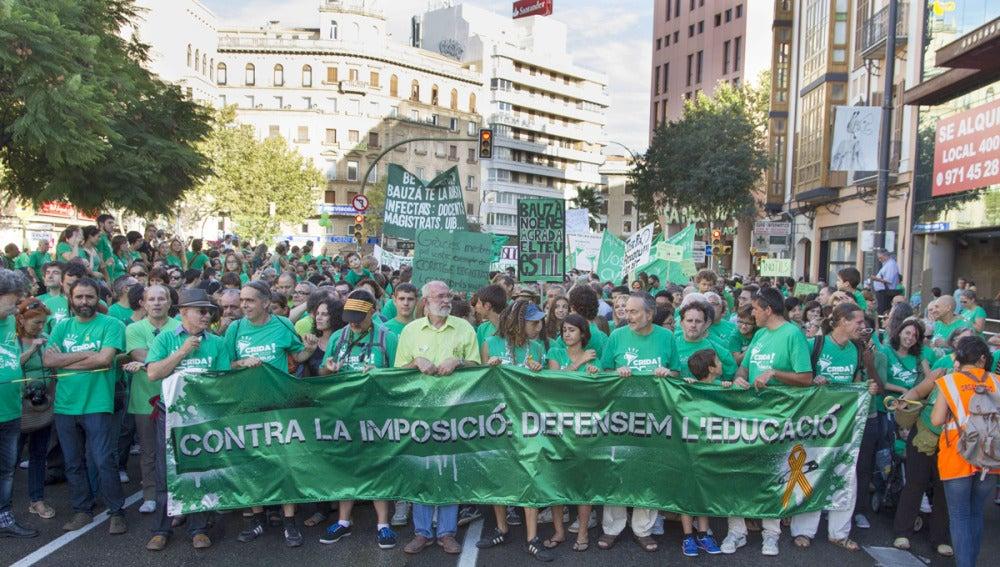 Manifestación de la 'marea verde' en Mallorca
