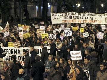 Un momento de la manifestación de estudiantes  en Madrid