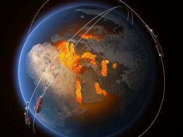 Recreación de la Tierra y los satélites lanzados alrededor