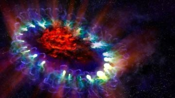 Imagen artística de la remanente de supernova SN 1987A basada en los datos reales obtenidos por ALMA y los telescopios espaciales Hubble y Chandra