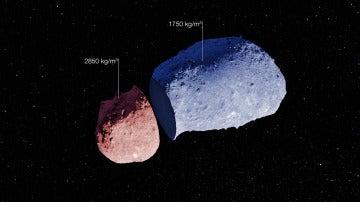 Visión esquemática del asteroide Itokawa realizada con las medidas extremadamente precisas realizadas con el telescopio NTT de ESO combinadas con un modelo de la superficie topográfica del asteroide.