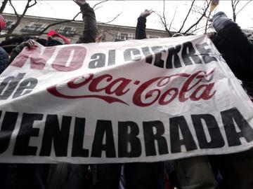 Imagen de las protestas por el ERE que Coca-Cola quiere llevar a cabo