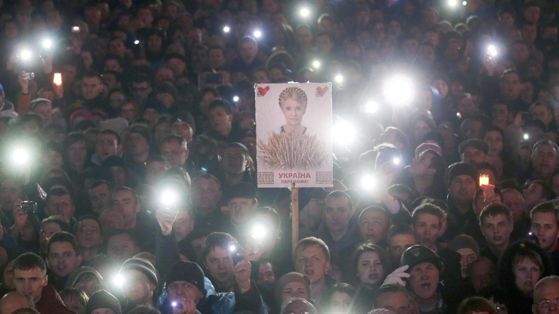 Manifestantes en Ucrania