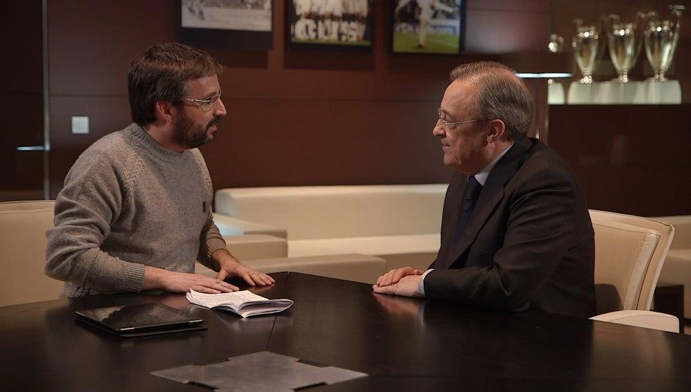 Florentino Pérez y Jordi Évole, cara a cara en el Bernabéu