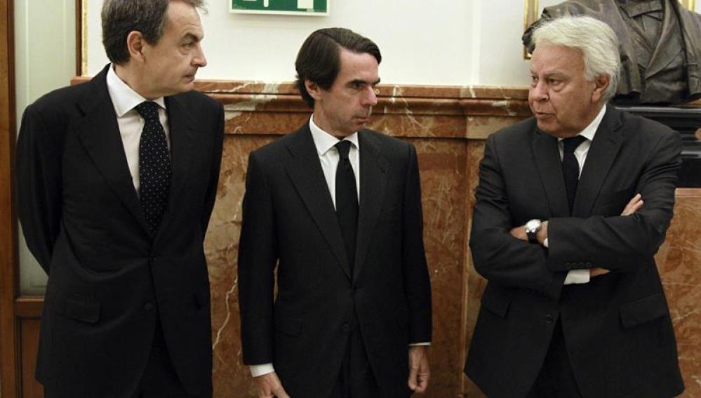 Zapatero, Aznar y Felipe González