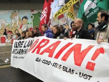 Manifestación convocada en Bilbao, con motivo de la huelga en el sector