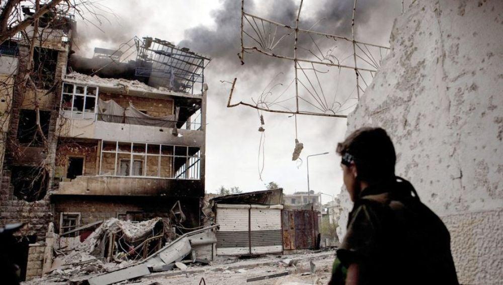 Imagen de las consecuencias de un bombardeo en Siria