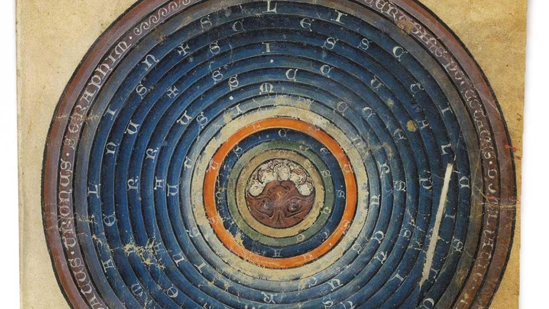 Pintura del siglo XIII describiendo un cosmos geocéntrico.