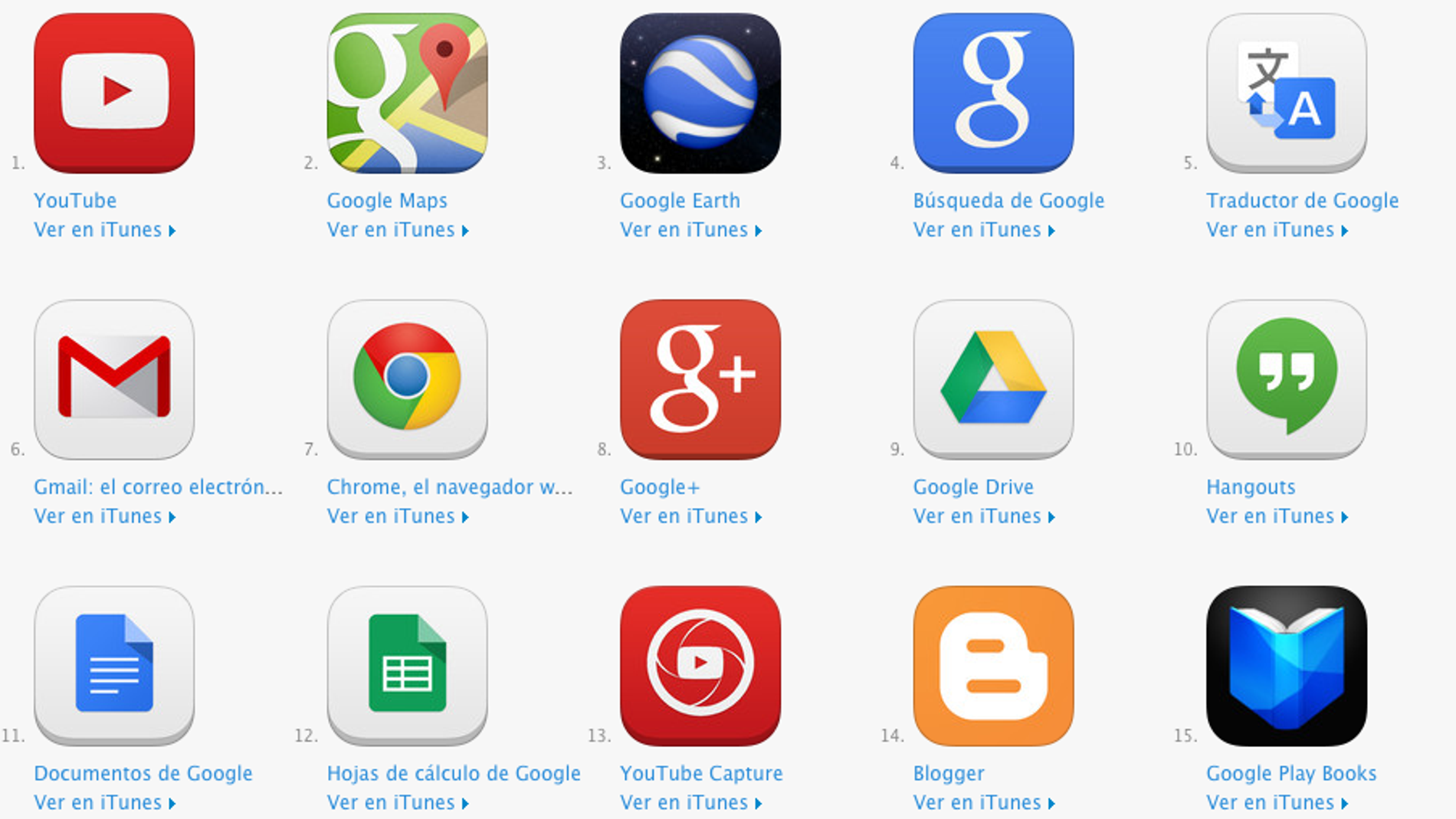Apps de Google en iOS
