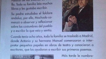 Libro de texto donde aparecen las referencias polémicas a Lorca y Machado