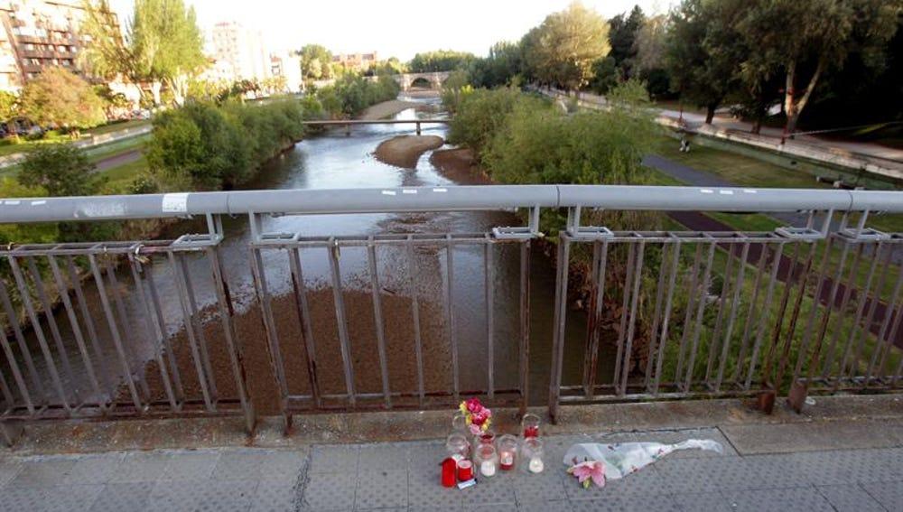 Flores y velas en el lugar en el que fue asesinada Isabel Carrasco