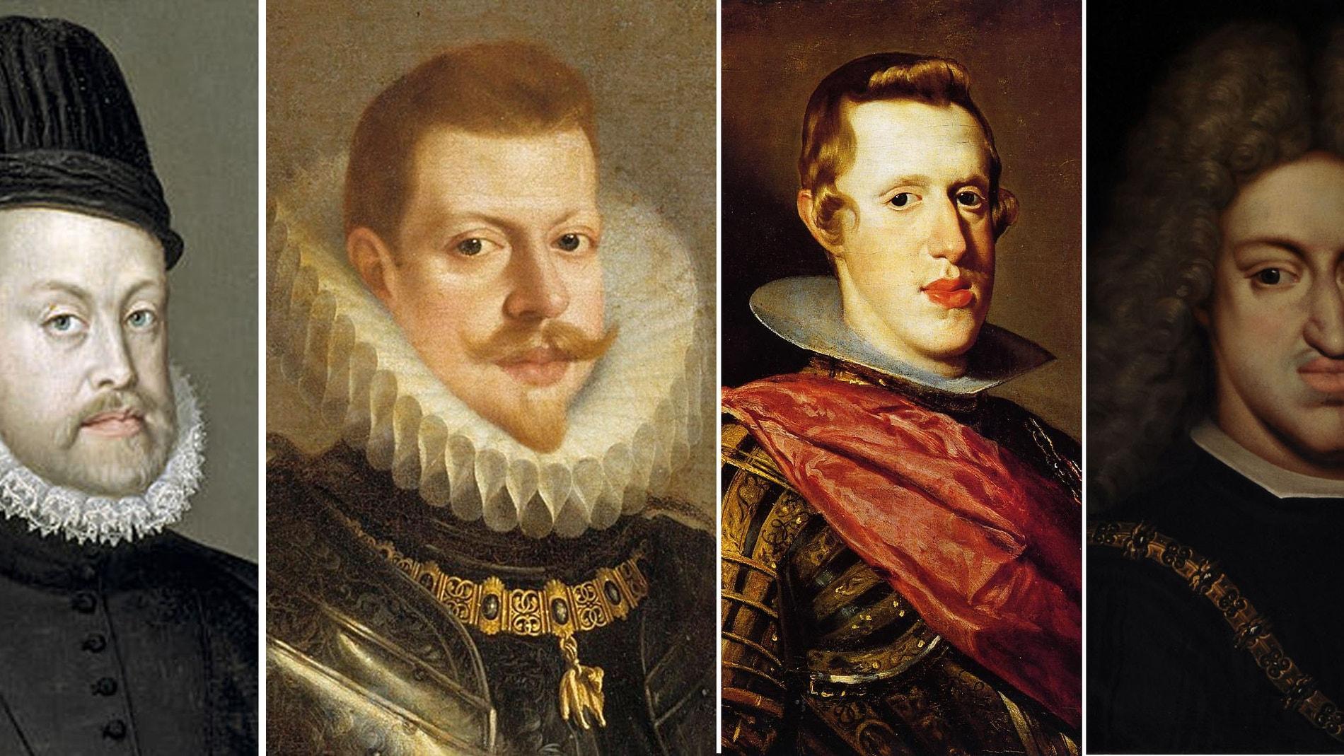 De Izquierda a derecha. Retratos de 4 generaciones de Austrias. Felipe II, Felipe III, Felipe IV y Carlos II, 'el Hechizado'