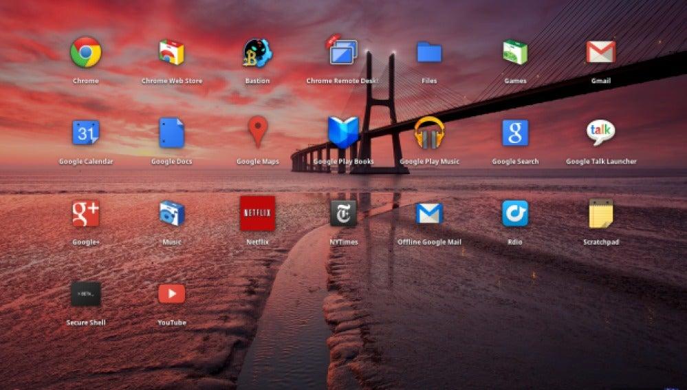 Aplicaciones en el escritorio de un Chromebook