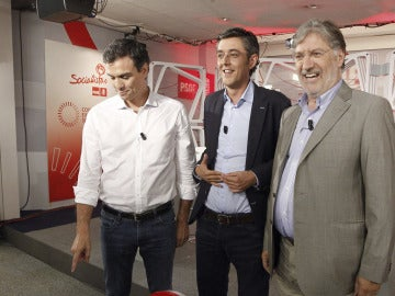 Los candidatos a la Secretaría General del PSOE: Eduardo Madina, Pedro Sánchez y Pérez Tapias