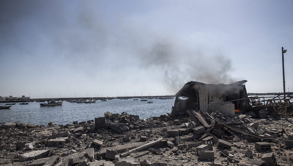 Una zona de la Franja de Gaza, destrozada tras un bombardeo