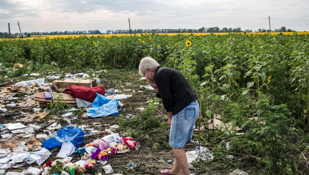 Una mujer observa los restos del MH17