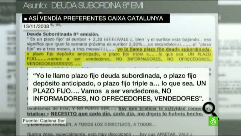 Caixa Catalunya exigía a sus empleados vender preferentes como una prioridad