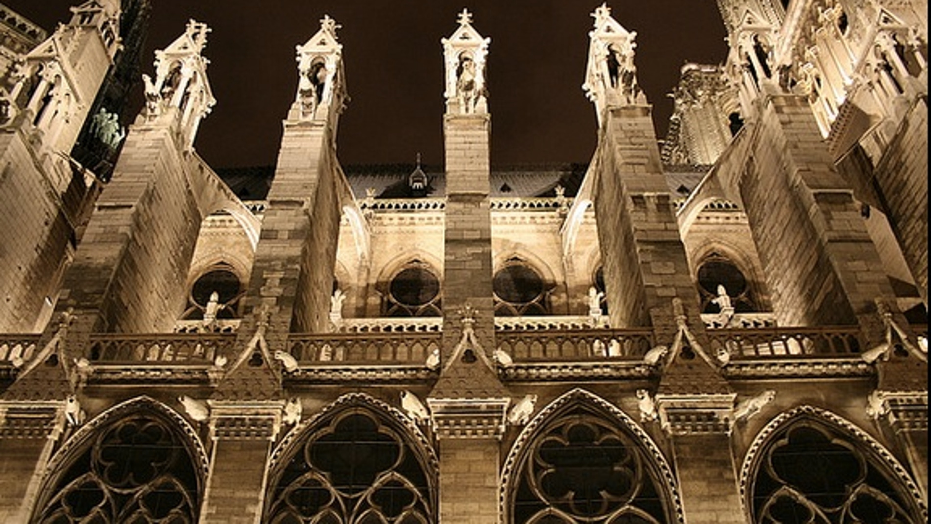 Arbotantes nocturnos en Notre-Dame de París