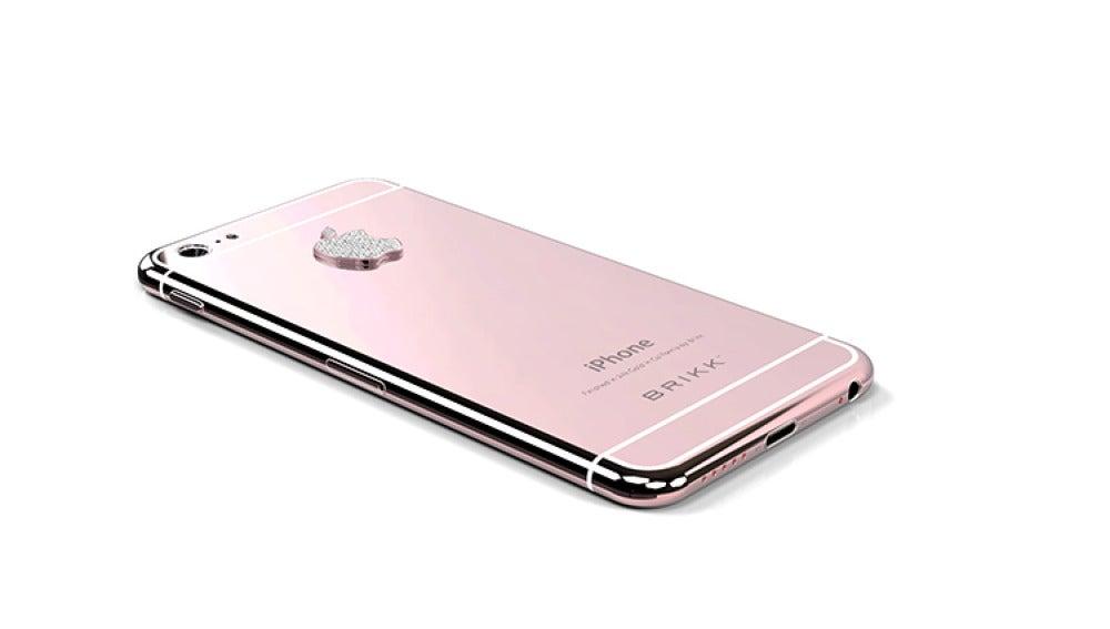 iPhone de oro rosa con diamantes