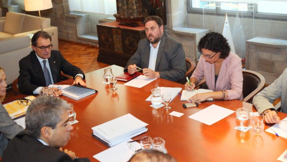 Artur Mas, reunido con los líderes de CiU, ERC, ICV-EUiA y la CUP