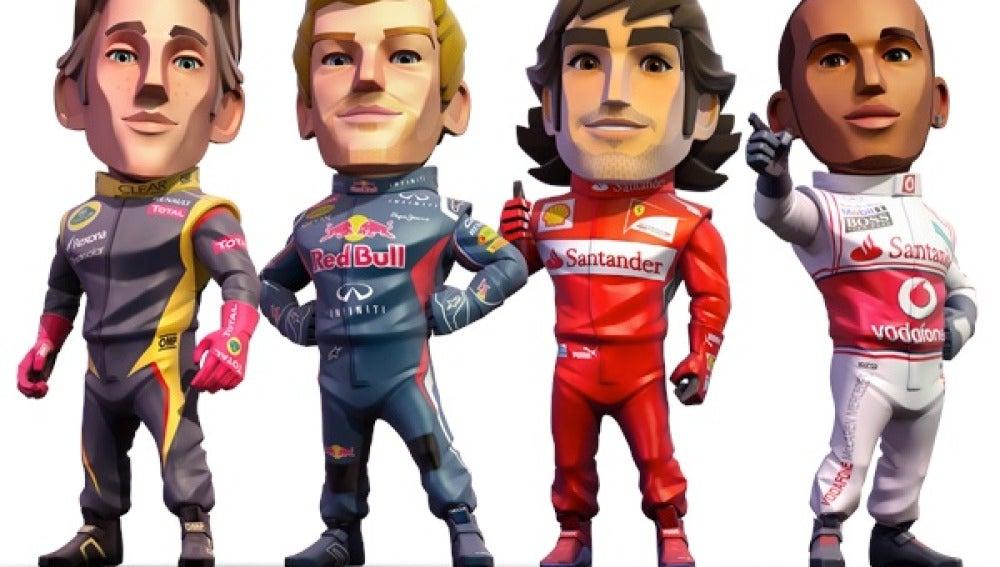 Los pilotos, en versión 'F1 Race Stars'