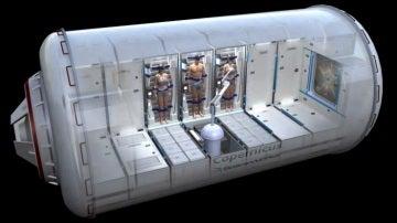 Recreación del módulo de hibernación de la NASA