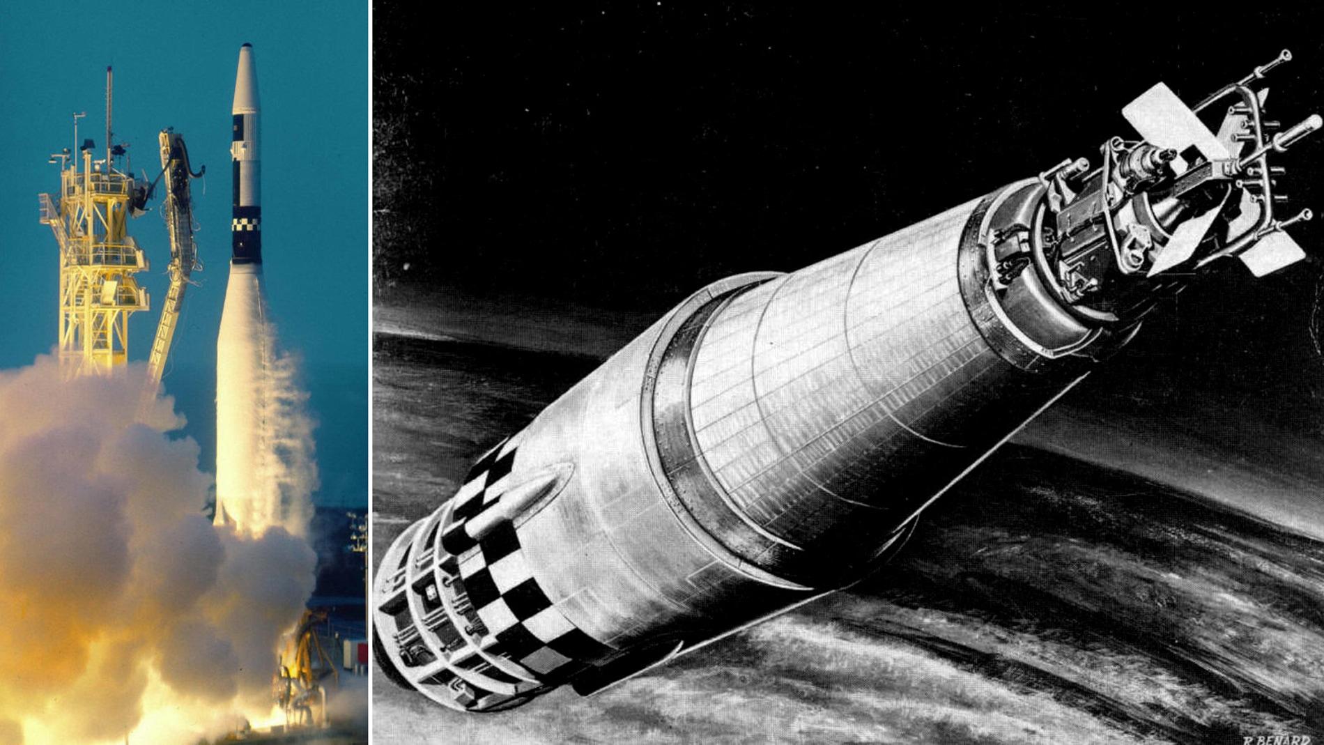 El Snap10a durante su lanzamiento y una ilustración en órbita