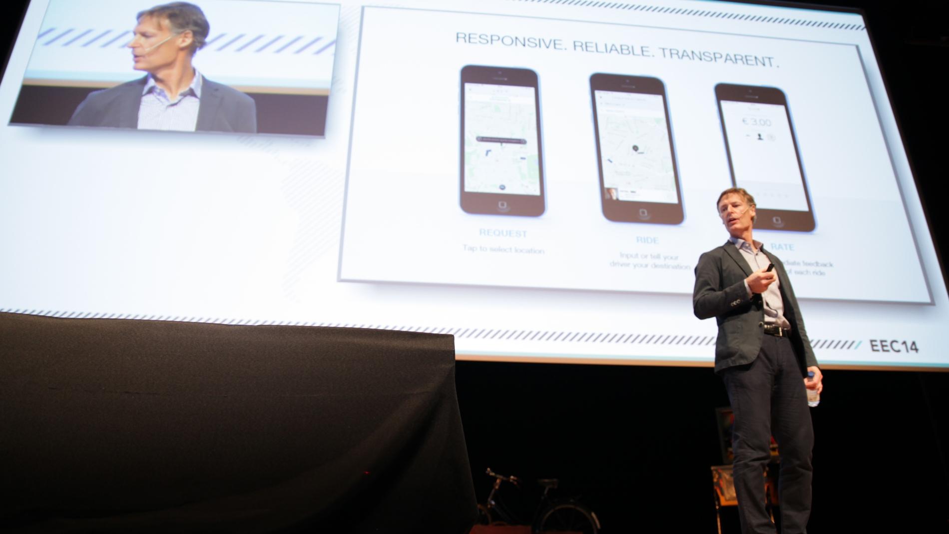 Niall Wass (Uber), durante su presentaciión en Bilbao