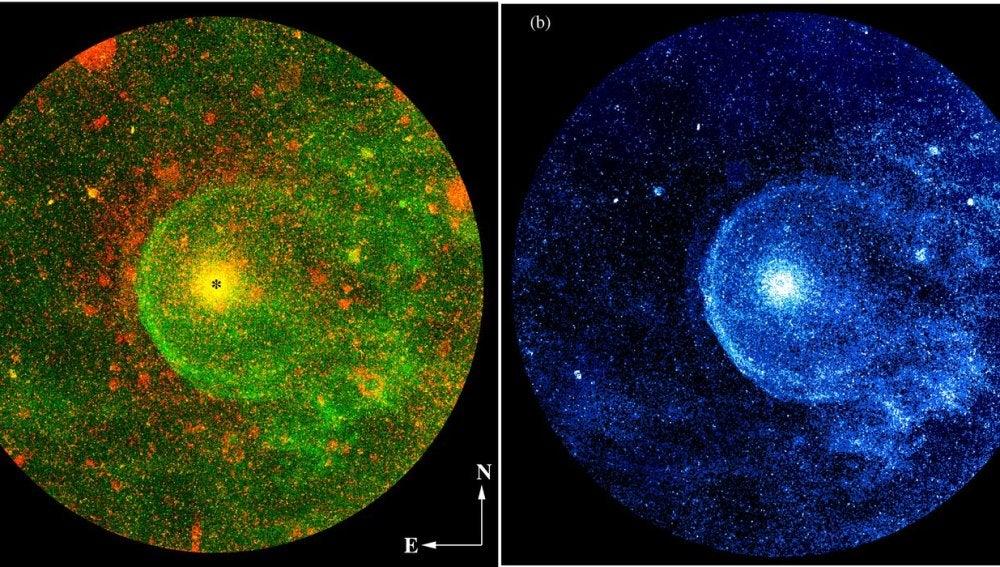 Composición de la estrella CW Leonis obtenida por el satélite GALEX
