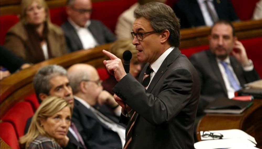 Artur Mas habla en el Parlament catalán
