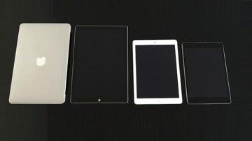 De izquierda a derecha, MacBook Air, Surface 3 Pro, iPad Air y Nexus 9