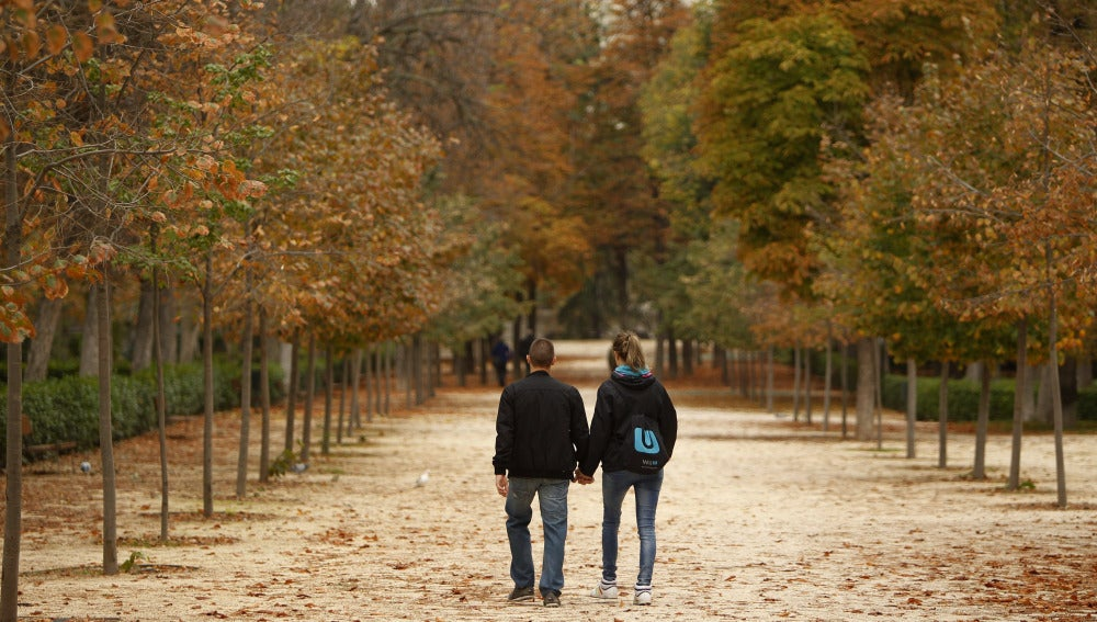 Una pareja pasea en el Parque del Retiro