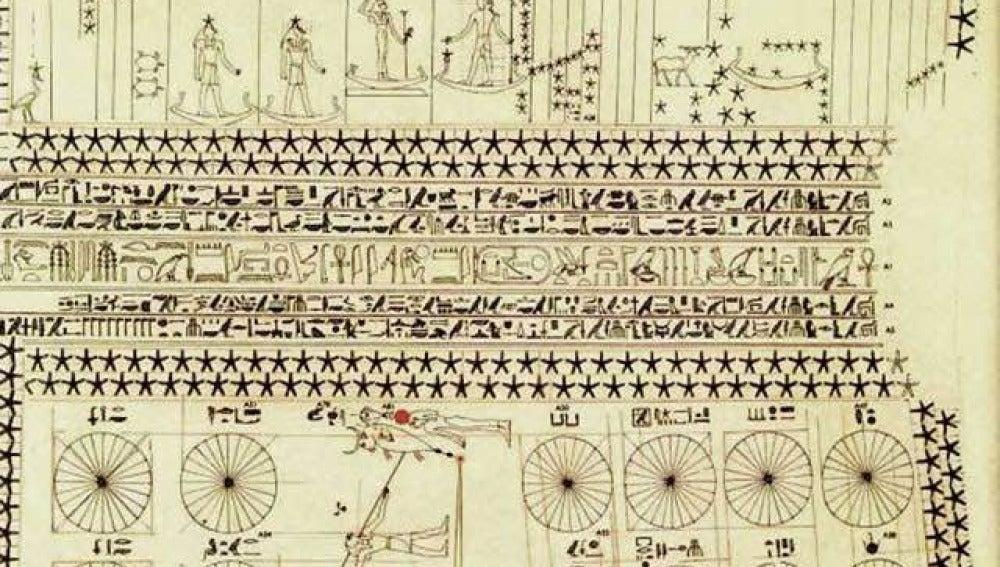 Aspecto del techo astronómico del hipogeo de Senenmut