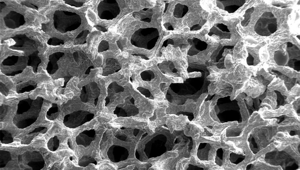 Espuma metálica en el microscopio electr