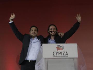 Pablo Iglesias y Tsipras en el mitin de Syriza