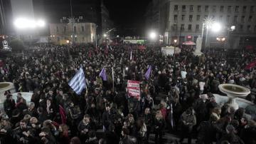 Simpatizantes de Syriza celebran la victoria electoral