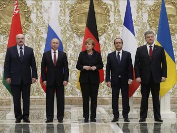 La reunión de Merkel, Hollande, Putin y Poroshenko en Minsk