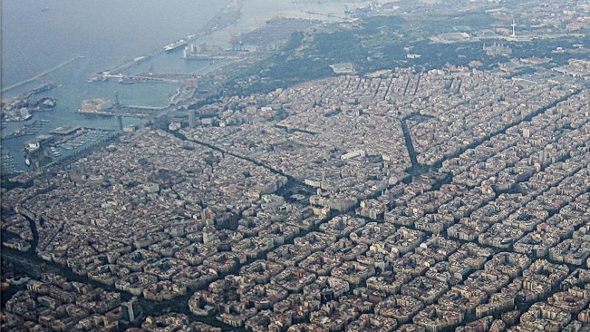 Vista aérea del eixample de Barcelona