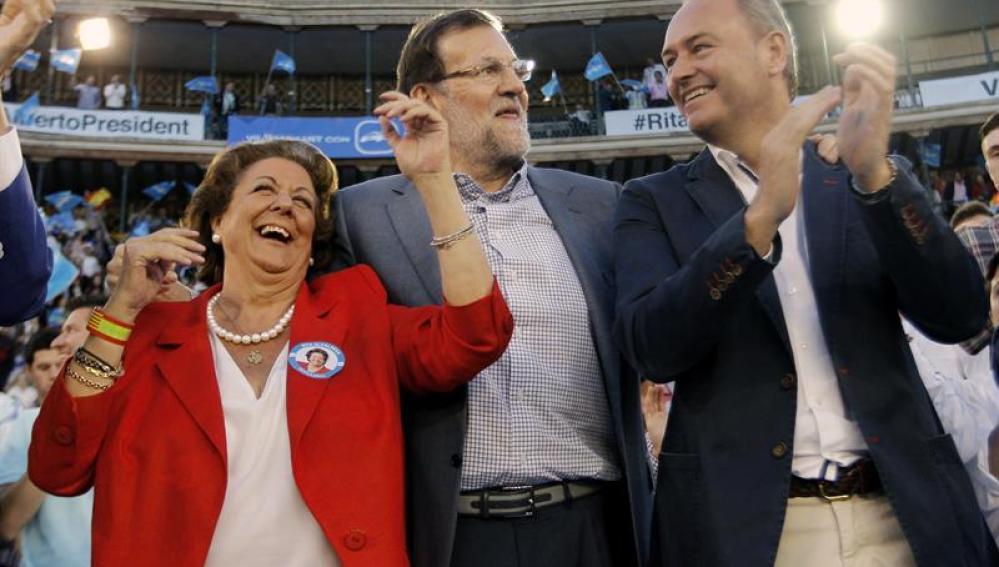 Rita Barberá, Mariano Rajoy y Alberto Fabra en acto electoral