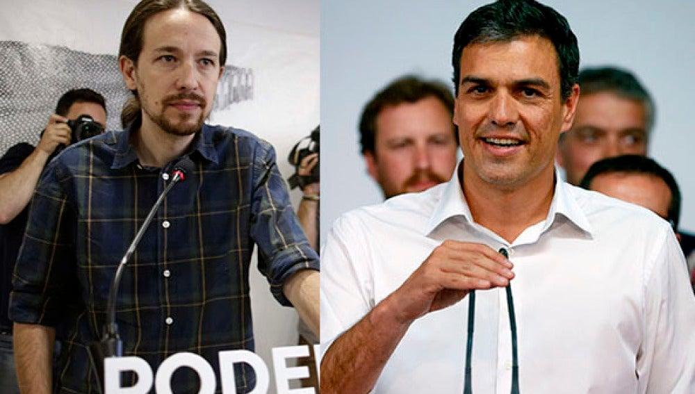 Pablo Iglesias (Podemos) y Pedro Sánchez (PSOE)