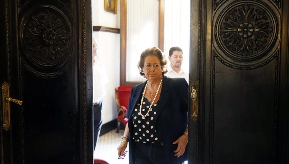 Rita Barberá antes de su último pleno en Valencia