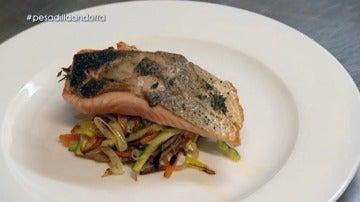 El salmón a la plancha con verdura de L´Olivé