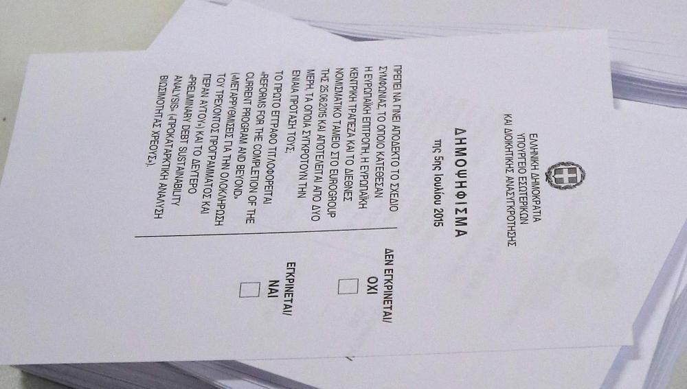 Papeleta del referéndum griego