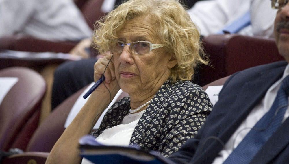 La alcaldesa de Madrid, Manuela Carmena, durante un acto