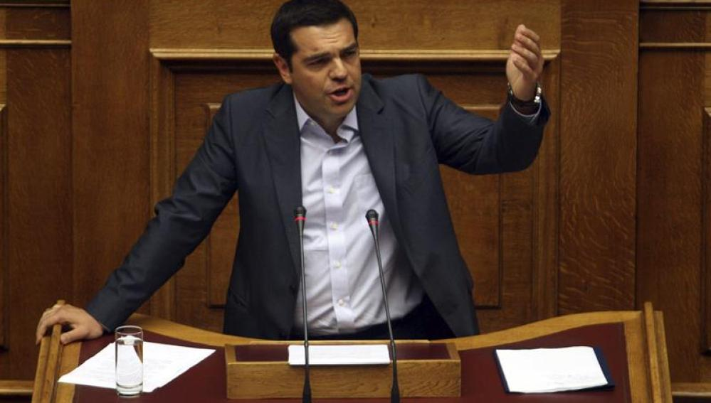 Alexis Tsipras, en una sesión parlamentaria en Atenas