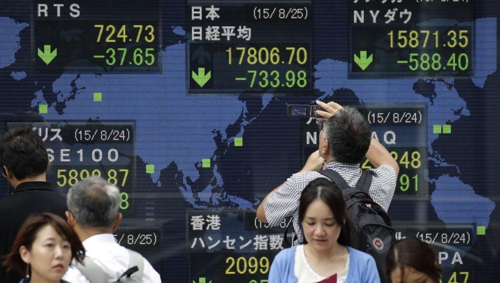 Pantalla de información bursátil china