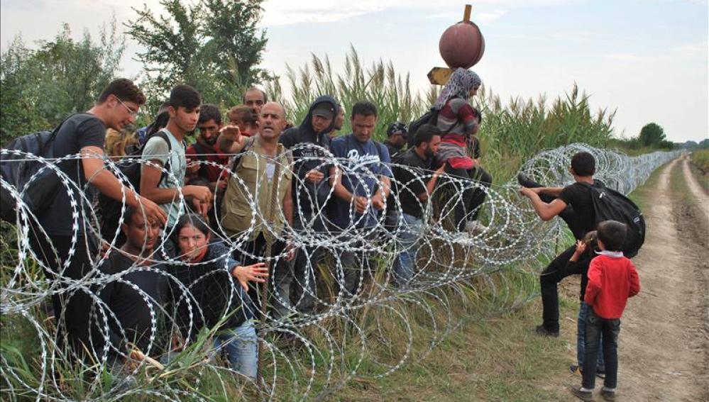 Varios refugiados sirios intentando saltar la alambrada de la frontera entre Hungría y Serbia
