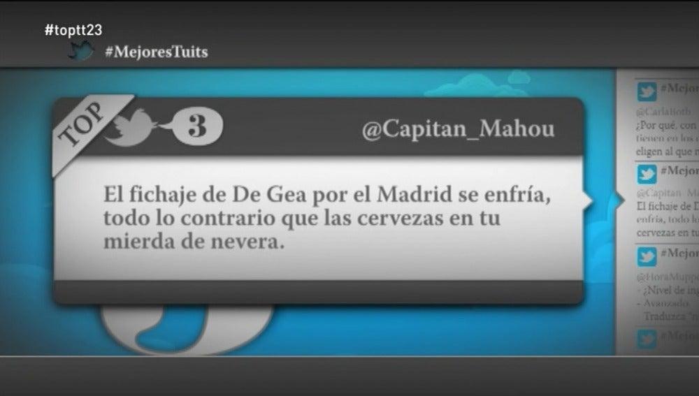 """@Capitan_Mahou: """"El fichaje de De Gea por el Madrid se enfría, todo lo contrario que las cervezas en tu mierda de nevera"""""""