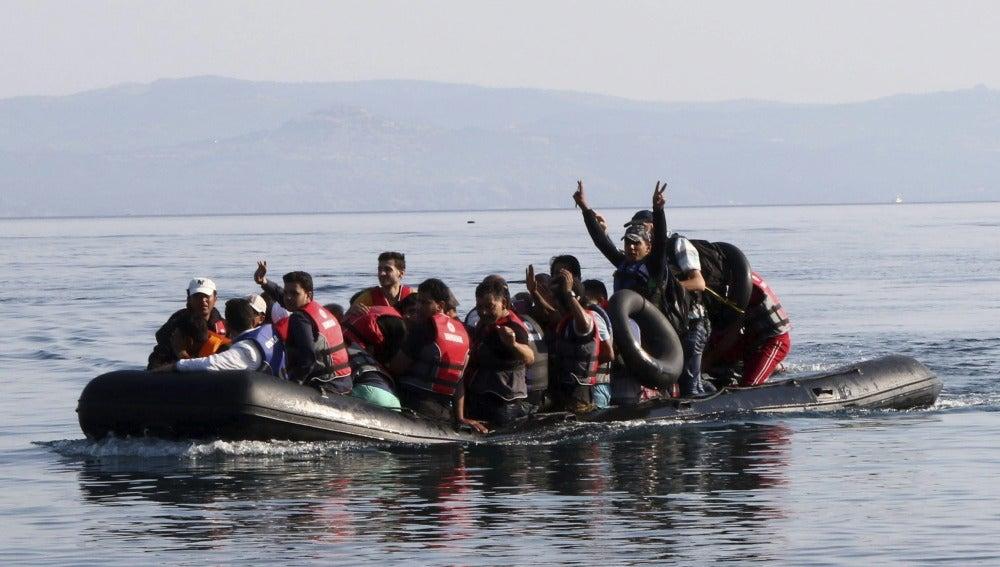 Un grupo de refugiados sirios