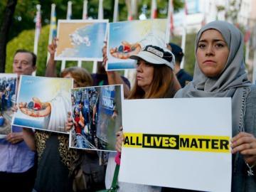 Manifestación a favor de la acogida de refugiados en Madrid